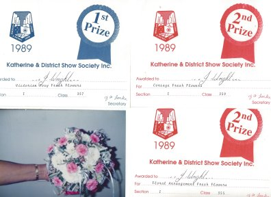 My Prize Certificates from The 1989 Katherine & District Show