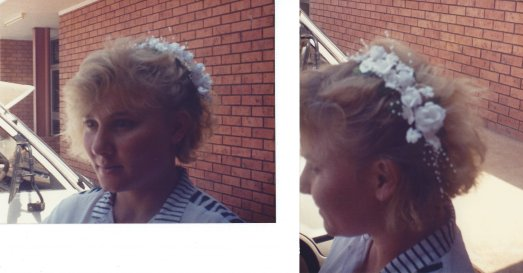 My workmate Cynthia Perry models a artificial flower hair cousage
