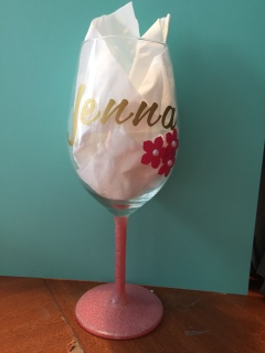 Front of Customised & Decorated Wine Glass