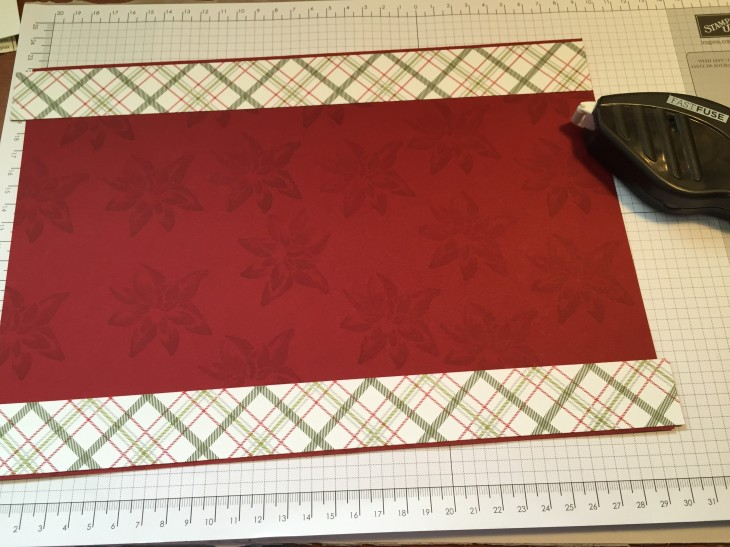 3cm strips of Home For The Holidays Designer Series Paper adhered to stamped Cherry Cobbler yardstick.