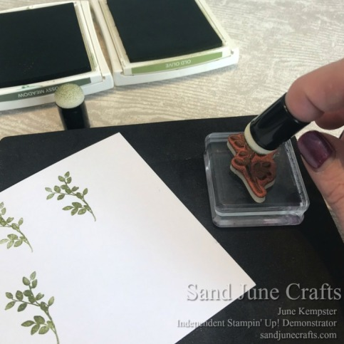 Ink up the stamp using Sponge Dauber for each colour to create a variegated look on the leaf images.
