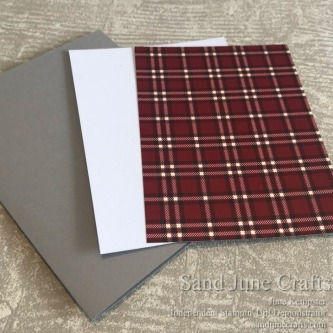 Plaid piece from Festive Farmhouse with coordinating cardstock Whisper White and Gray Granite